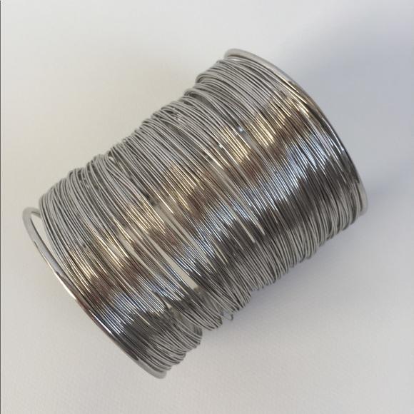 Women Silver Wire bracelet 80s Style  Adjustable
